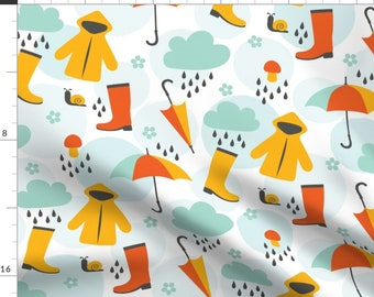 April Showers Raincoat Umbrella Fabric - Colorful April Shower By Vilmosvarga - April Showers Cotton Fabric By The Yard With Spoonflower
