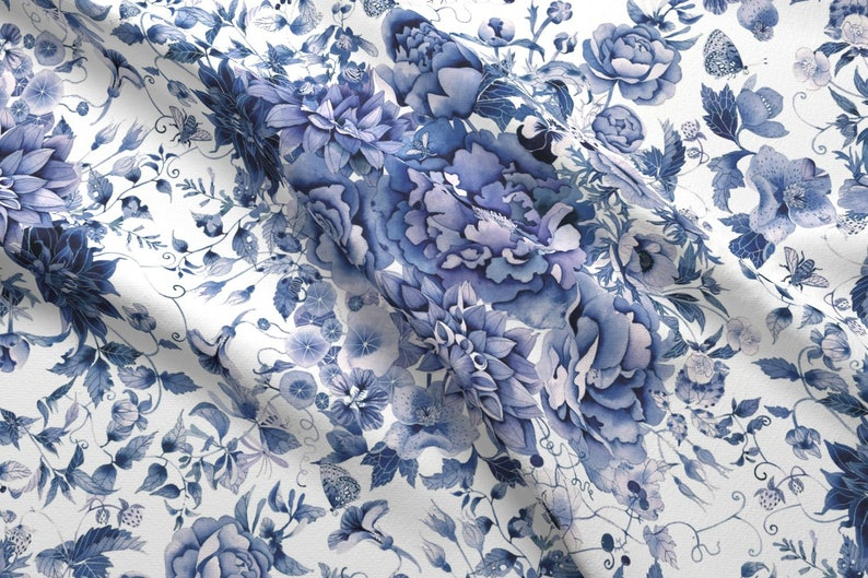Japanese Floral Fabric Blue And White Floral By Gabbymalpas Etsy