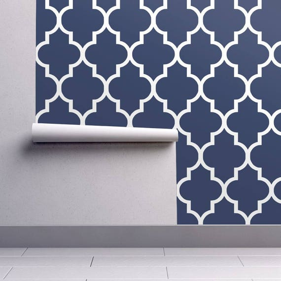 Blue Wallpaper Classic Navy White Quatrefoil By Willow Lane Textiles Spoonflower Custom Printed Removable Self Adhesive Wallpaper Roll
