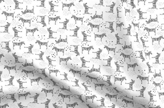 Black Wild Natrual Abstract Zebra Print Silky Poly Jersey Dress Fabric Material
