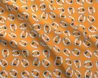 Halloween Fabric - Plastic Vampire Teeth Pumpkin By Heidikenney- Halloween Vampire Orange Fangs Cotton Fabric By The Yard With Spoonflower