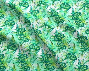 Coral And Leaves Fabric - Coral Carnation - Seafoam Green By Andreaalice - Coral Botanical Nature Cotton Fabric By The Yard With Spoonflower
