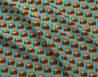 Cheeseburger Fabric - Double Cheeseburger By Kellygilleran - Cheeseburger Fast Food Snacks Aqua Cotton Fabric By The Yard With Spoonflower