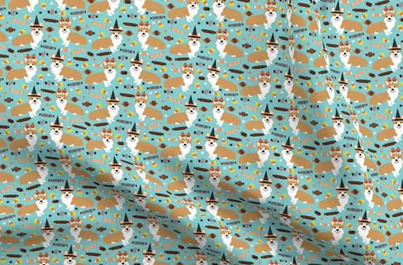 Corgi Dogs Digital Printed Linen Cotton Fabric Curtain Upholstery Craft Cushions