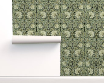 Nouveau Wallpaper - Morris Inspired ~ Pimpernel By Peacoquettedesigns - Sage Removable Self Adhesive Wallpaper Roll by Spoonflower