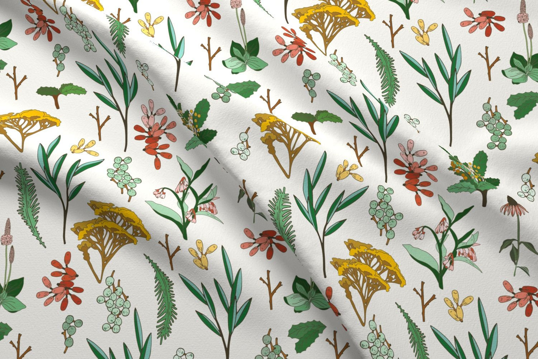 Modern Botanical Home Decor Fabric Herbal Study Light By