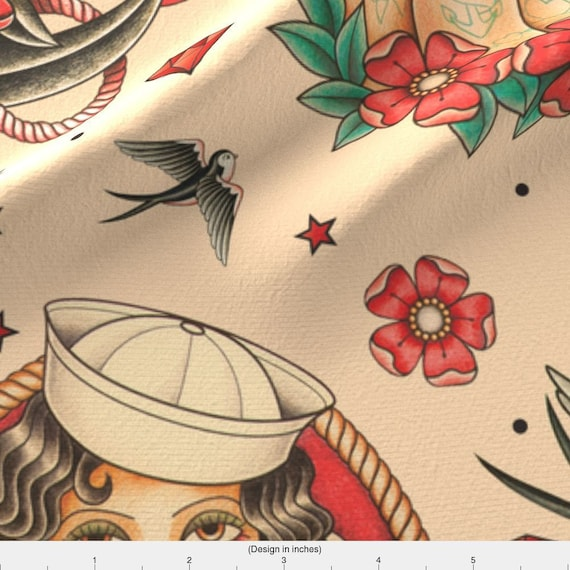 Tattoo Tattoo Beige Red Blue Vintage Decor Fabric Printed by Spoonflower BTY