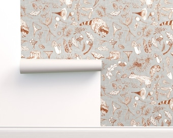 Woodland Wallpaper - Forest Critters (Sienna) By Nouveau Bohemian - Custom Printed Removable Self Adhesive Wallpaper Roll by Spoonflower