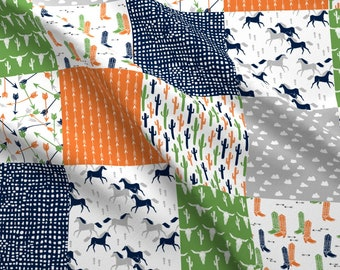 Western Fabric - Boys Cheater Quilt Green Moss Orange Navy By Andrea Lauren- Boho Southwestern Cotton Fabric By The Yard With Spoonflower