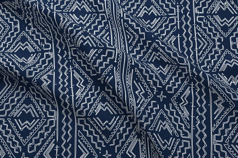 Navy Mudcloth Fabric African Mud Cloth Mudcloth Tribal White Etsy