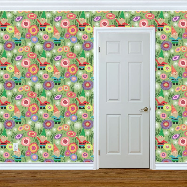 Green Flowers Custom Printed Removable Self Adhesive Wallpaper Roll by Spoonflower Flowers Wallpaper Gnomes Harvest By Vo Aka Virginiao