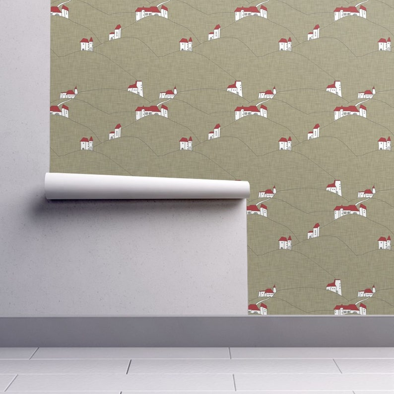 Countryside Architecture Linen By Holli Zollinger House Wallpaper Custom Printed Removable Self Adhesive Wallpaper Roll by Spoonflower