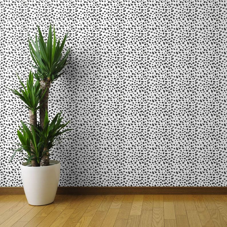 Black White Abstract Dalmatian Spots by Little SmileMakers Dots Wallpaper Custom Removable Self Adhesive Wallpaper Roll by Spoonflower