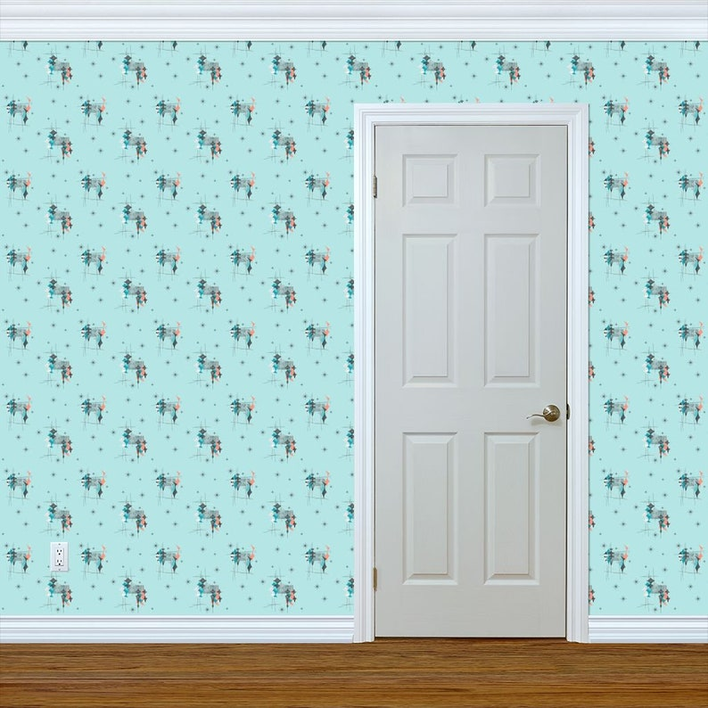 Atomic Wallpaper Diamond Aqua Salmon Turquoise By Tonyanewton Mcm Custom Printed Removable Self Adhesive Wallpaper Roll by Spoonflower