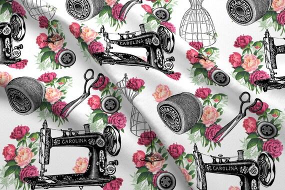 Vintage Sewing Machines Fabric Vintage Sewing And Roses By Etsy Custom Vintage Sewing Machine Fabric