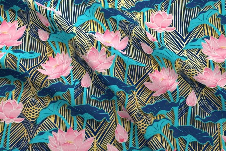 Lotus Fabric Art Deco Lotus Flowers In Pink Navy By Micklyn Etsy