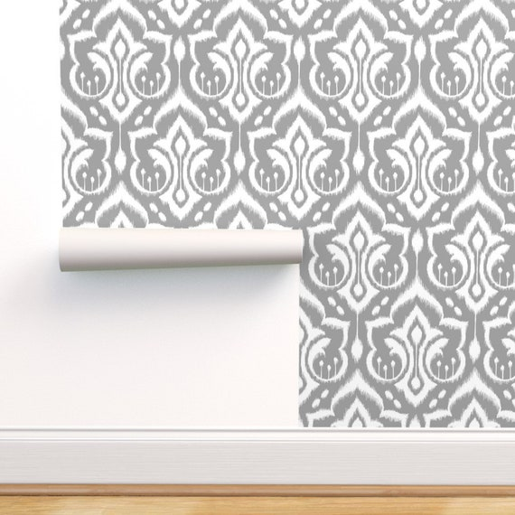 Removable Water-Activated Wallpaper Grey Damask Modern Ikat