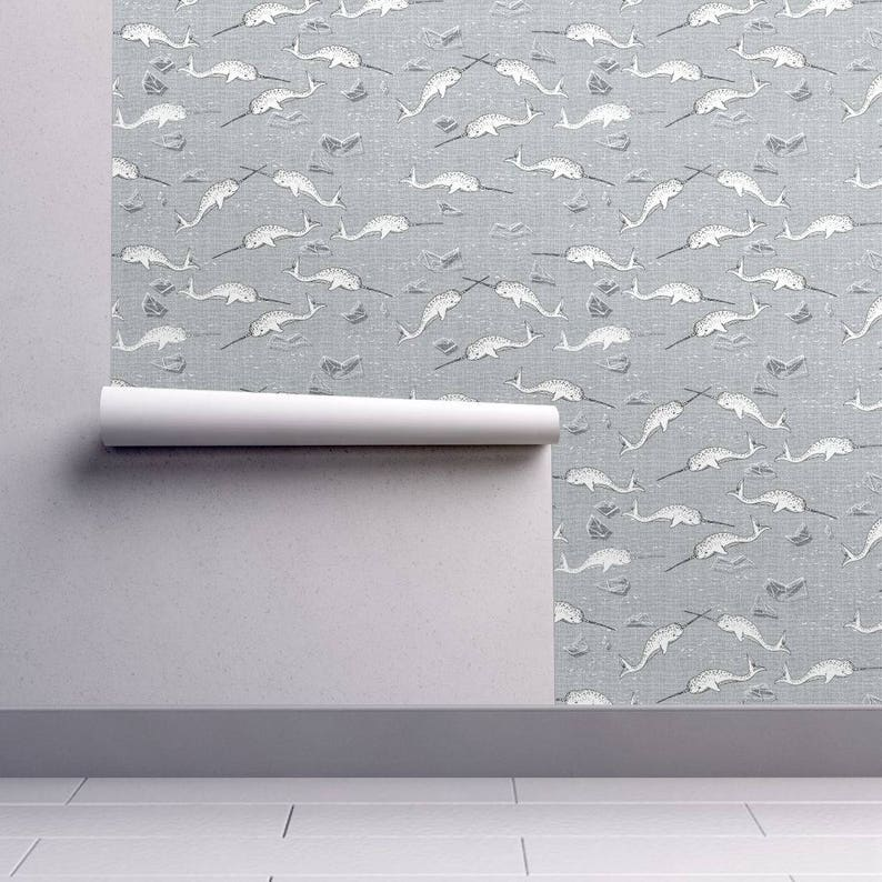 Narwhal whale wallpaper for bathrooms