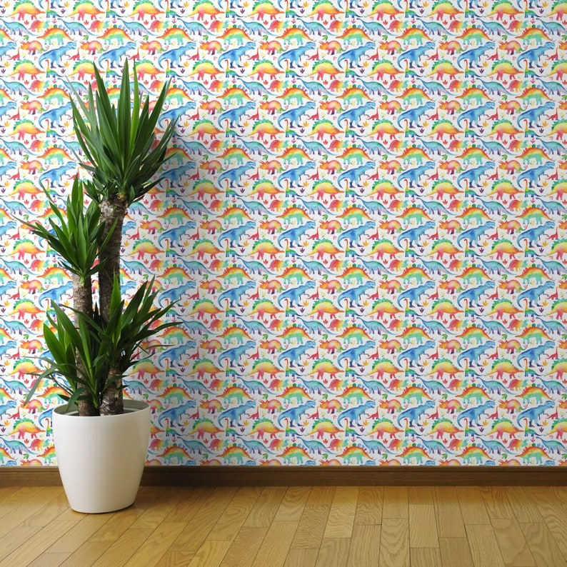 Large Scale By Emmaallardsmith Rainbow Watercolour Dinosaurs Removable Self Adhesive Wallpaper Roll by Spoonflower Dinosaur Wallpaper