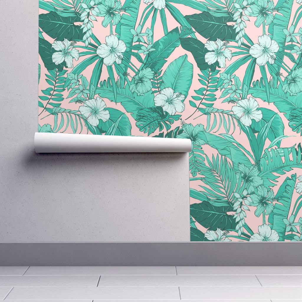 Tropical Wallpaper Miami Beach Aqua Peach By Shopcabin Etsy