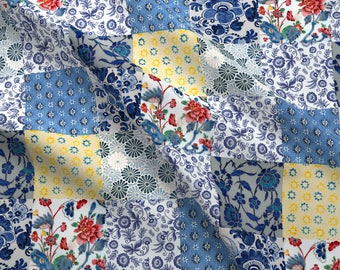 Blue Yellow Floral Cheater Quilt Fabric - Vintage Inspired - Delft Quilt By Ragan - Cheater Cotton Fabric By The Yard With Spoonflower