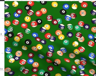 Pool Fabric - Billiard Balls On Felt // Large By Thinlinetextiles - Pool Table Billiard Balls Red Cotton Fabric By The Yard With Spoonflower