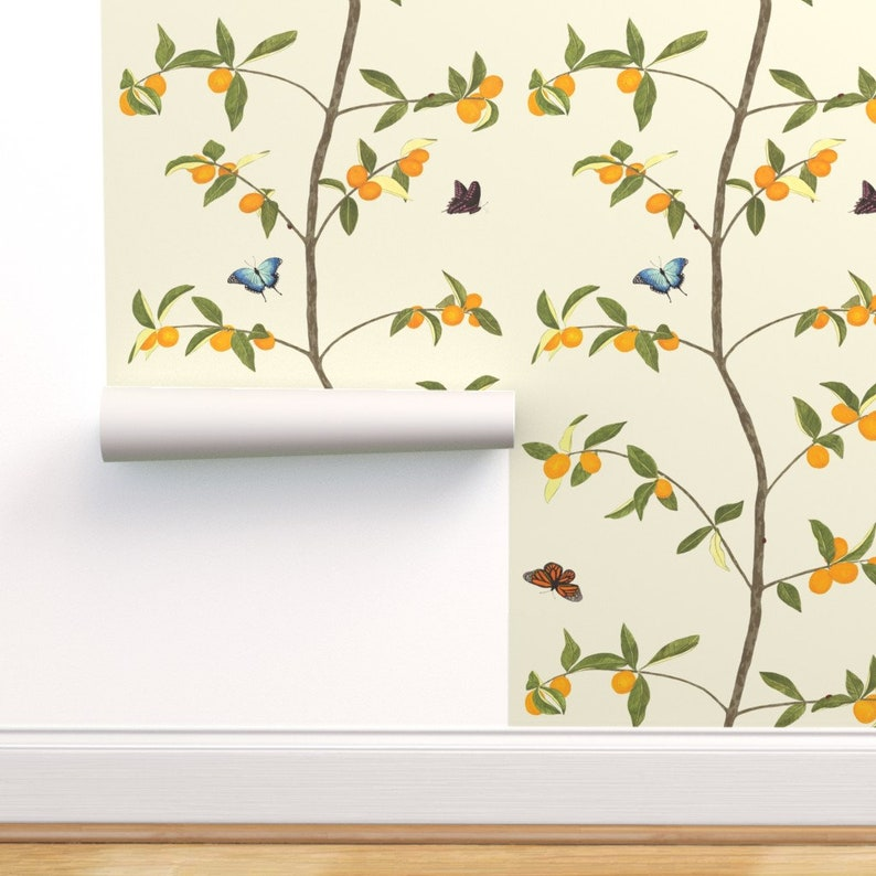 Removable Water-Activated Wallpaper Chinoiserie Asian Blue Bird Butterfly