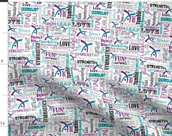 Blue and Purple Gymnastics Fabric - Gymnastics Words Purple Teal By Heathertm13 - Sport Decor Cotton Fabric By The Yard With Spoonflower
