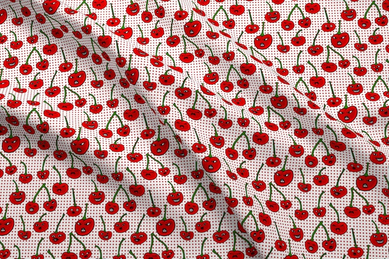Cherry Faces Fabric Rotten Cherries By Amber Morgan Etsy