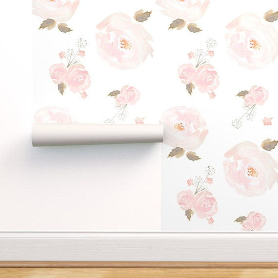Peel-and-Stick Removable Wallpaper Indy Bloom Pastel Pink Floral Pattern Nursery