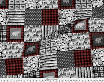 Rustic Cheater Quilt Fabric - Urban Cowboy Patchwork By Thecalvarium - Rustic Baby Cheater Quilt Cotton Fabric By The Yard With Spoonflower