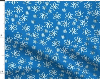Chemistry Fabric - Atomic Orbits Blue By Robyriker - Chemistry Atomic Orbits Geek Chic Blue White Cotton Fabric By The Yard With Spoonflower