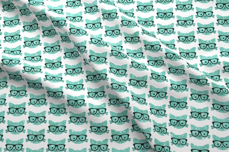 04b541d5827 Cat With Glasses Fabric Sparkle Kitties Turquoise By | Etsy