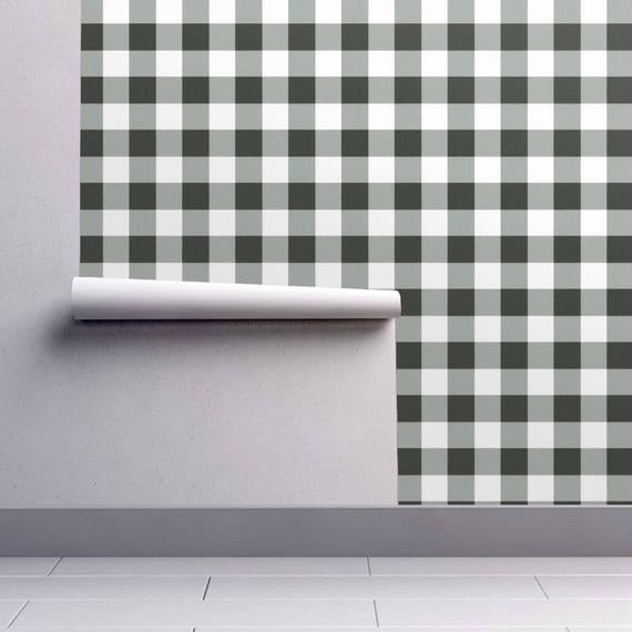 black and white plaid wallpaper buffalo check in black by etsy