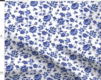 Simple Blue Flowers Fabric - Fleurs De Provence Provencal Blue And White By Peacoquettedesigns - Cotton Fabric By The Yard With Spoonflower