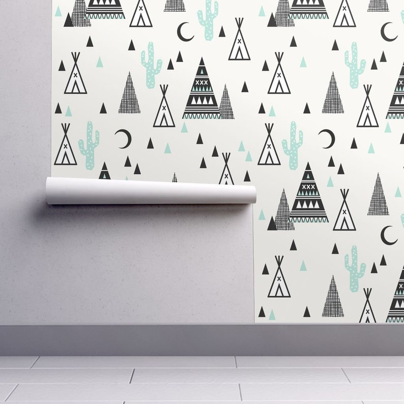 Boho Teepee Wallpaper Custom Printed Removable Self Adhesive Wallpaper Roll by Spoonflower Tipi Mint Southwest Triangle By Charlottewinter