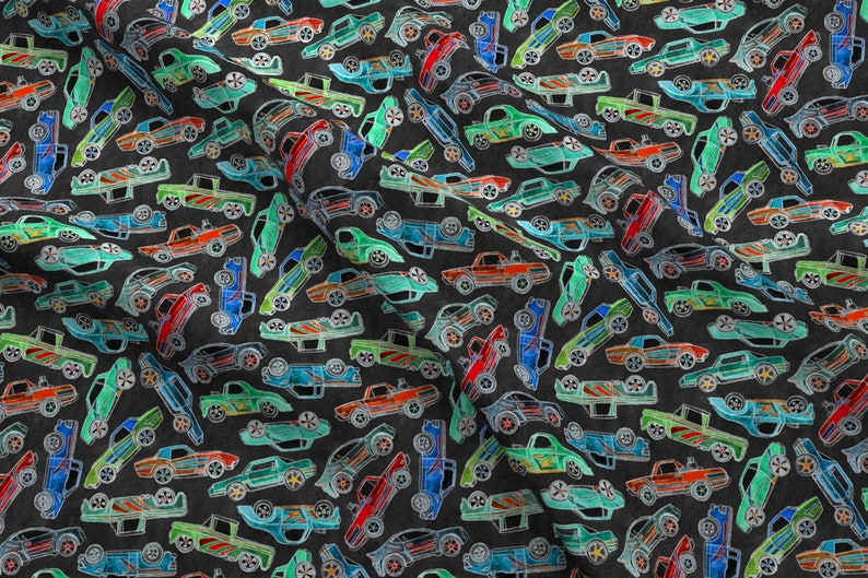 Chalk Cars Fabric - Chalkboard Toy Car Pile Up - Large By Micklyn - Chalk  Cars Black Green Blue Cotton Fabric By The Yard With Spoonflower