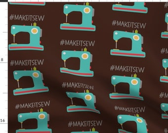 Blue Sewing Machine Crafting Theme Fabric - Make It Sew - Brown By Craftystaci - Sewing Theme Cotton Fabric By The Yard With Spoonflower