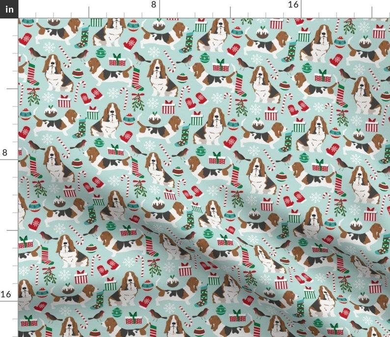 Basset Hound Fabric  Basset Hound Christmas Cute Mint Blue image 0