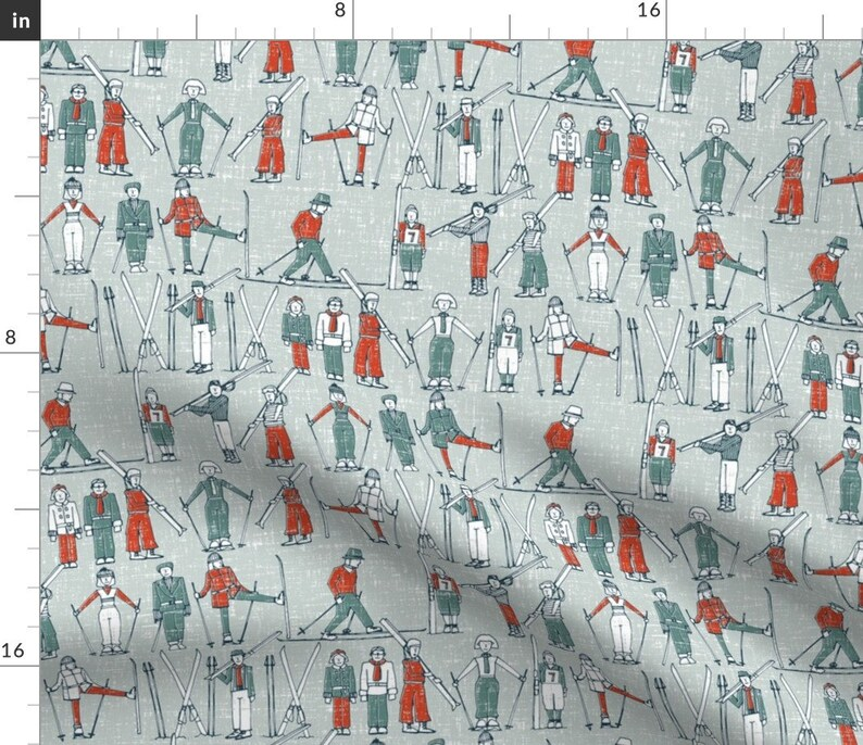 Vintage Winter Ski Fabric  Vintage Ski Linen By Scrummy  image 0