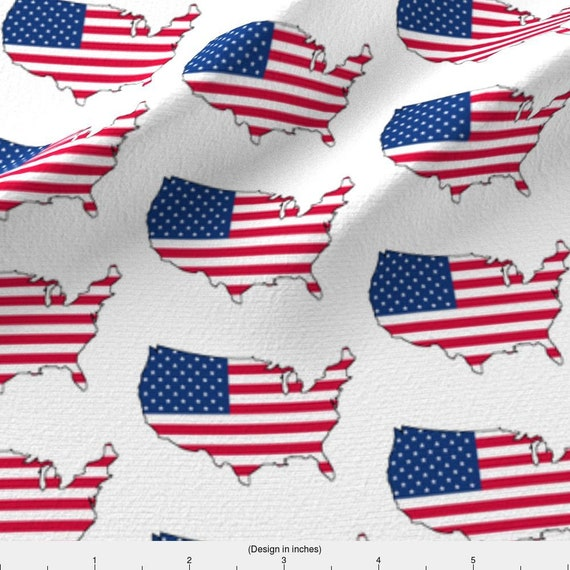American Flag Fabric - Usa Flag Overlay By Thinlinetextiles - America Flag  Map USA Red White Blue Cotton Fabric By The Yard With Spoonflower
