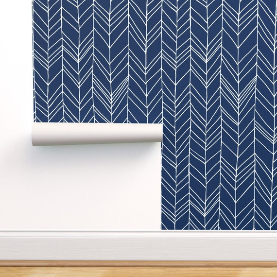Chevron Wallpaper Featherland Navy White Large By Leanne Custom Printed Removable Self Adhesive Wallpaper Roll By Spoonflower