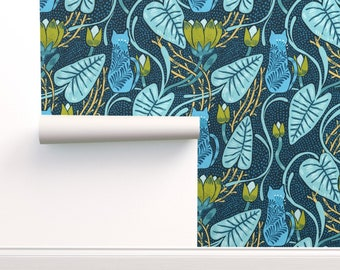 Nouveaudc Wallpaper - Art Nouveau By Kostolom3000 - Cats And Florals Custom Printed Removable Self Adhesive Wallpaper Roll by Spoonflower