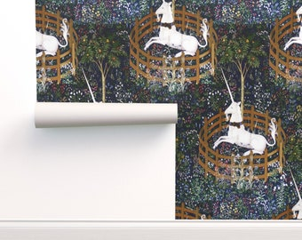 Unicorn Wallpaper - The Unicorn Is In Captivity By Peacoquettedesigns - Custom Printed Removable Self Adhesive Wallpaper Roll by Spoonflower