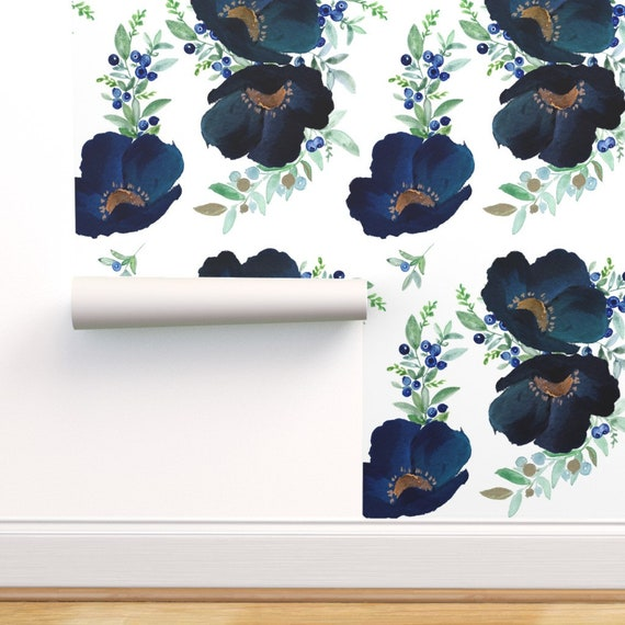 Peel-and-Stick Removable Wallpaper Blueberry Florals Watercolor Wedding Blue