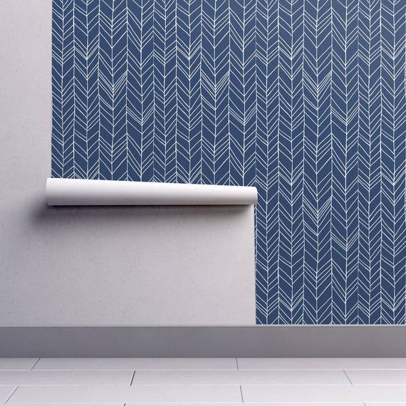 Chevron Wallpaper Featherland Navy White Large By Leanne