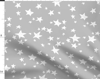 Grey Fabric - Stars - Slate Grey Nursery fabric By Andrea Lauren - Grey Cotton Fabric By The Yard With Spoonflower