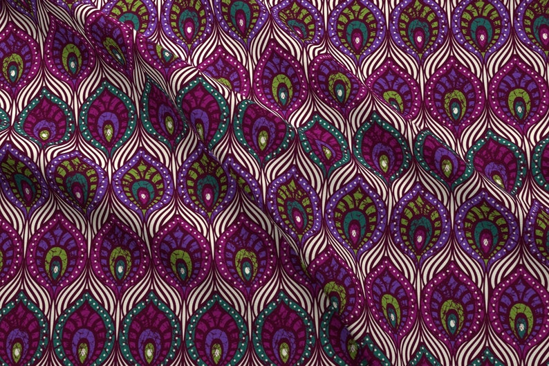fd779c3fea9 Peacock Fabric Peacock Feathers By Olgart Peacock Purple | Etsy