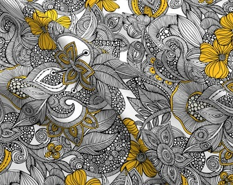 Henna Floral Fabric - Doodles Black And Yellow By Valentinaharper - Retro Illustrated Flowers Cotton Fabric By The Yard With Spoonflower
