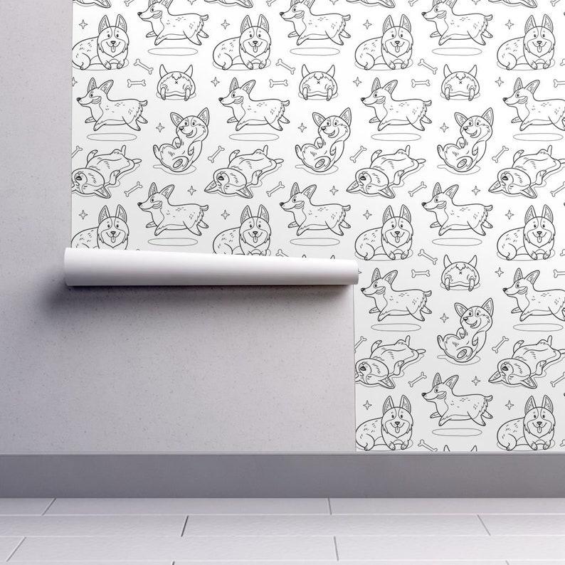 Corgi Wallpaper Dog Children Custom Printed Removable Self Adhesive Wallpaper Roll by Spoonflower Corgis Coloring Print By Penguinhouse